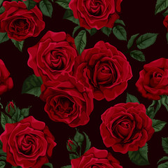 Fototapeta Róże Seamless wallpaper pattern with of collection red roses .