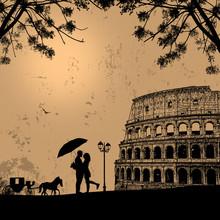 Couple Silhouette In Love In F...