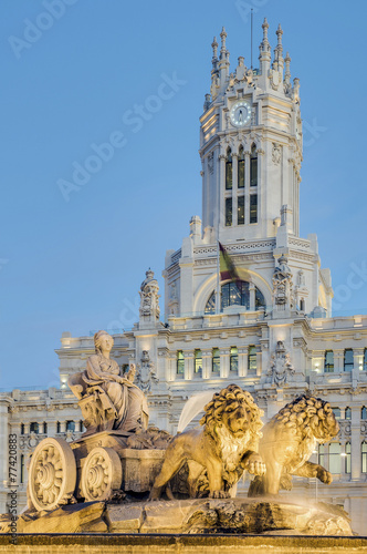 Photo Stands Madrid Cibeles Fountain at Madrid, Spain