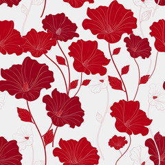 Fototapeta graceful red seamless floral pattern