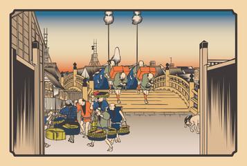 Fototapeta Do sushi baru 歌川広重 東海道五拾三次 日本橋 朝之景イメージイラスト