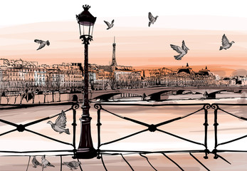 FototapetaSunset on Seine river from Pont des arts in Paris