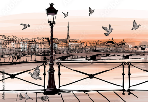 Cadres-photo bureau Art Studio Sunset on Seine river from Pont des arts in Paris