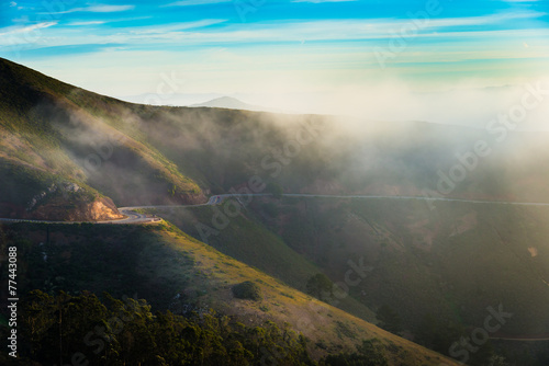 Foto op Plexiglas Panoramafoto s Fog in the morning at Marin Headland, San Francisco
