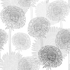 Panel Szklany Seamless pattern of dandelions . Hand-drawn floral background, m