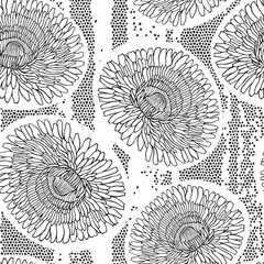 Panel Szklany Seamless pattern of dandelions. Hand-drawn floral background. Bl