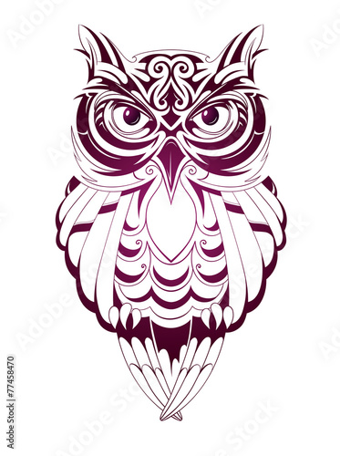 Deurstickers Uilen cartoon Owl tattoo