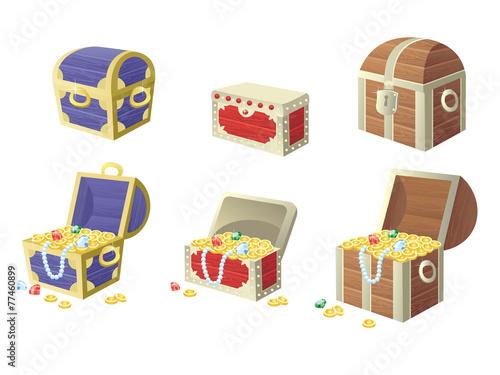 Fotografie, Obraz  vector illustration of treasure chest full of gold coins and