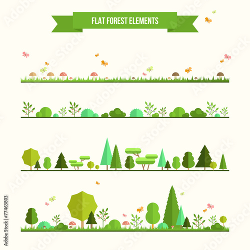 Garden Poster White Set of flat forest elements