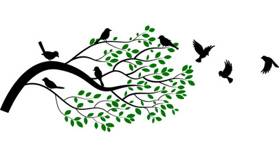 Naklejka Illustration of tree branch with bird silhouette