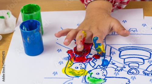 Pintura de dedos Wallpaper Mural