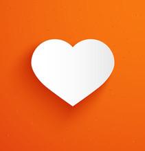 White Paper Heart On Orange Ba...