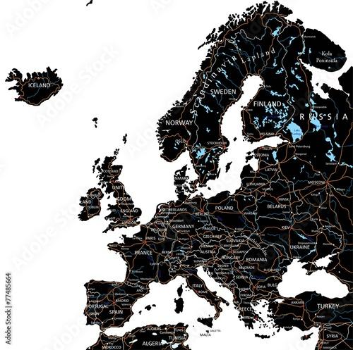 Obraz Czarno Biała Mapa Europy Do Wydruku W Stylu