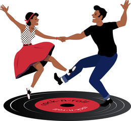 Fototapeta Taniec / Balet Rockabilly couple dancing on a vinyl record
