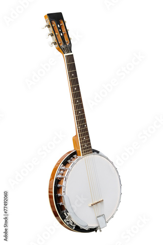 The image of white banjo isolated Canvas Print