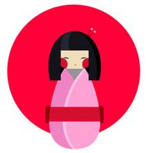 Kokeshi Doll Vector Flat Style Illustration
