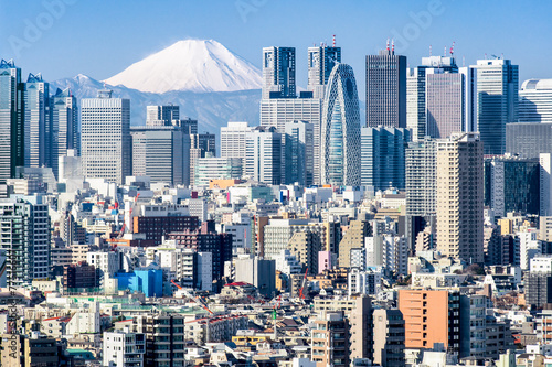 Fotobehang Tokyo Tokyo im Winter mit Fujiyama im Hintergrund