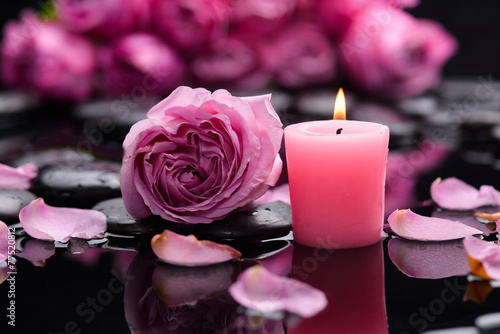 Fotobehang Spa Pink rose with candle ,petals and therapy stones
