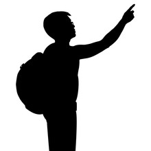 Silhouette Man With Backpack And Hand Point