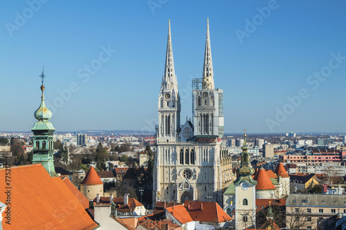 Staande foto Stockholm Catholic cathedral in Zagreb from Upper town