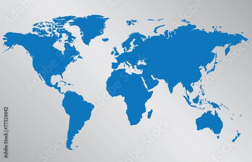 World map illustration on gray background Tapéta, Fotótapéta