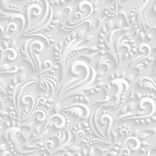 Vector Floral Victorian Seamless Background.