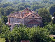 Ruined Greek Orthodox Church In Ghost Town Of Kayakoy (Turkey)