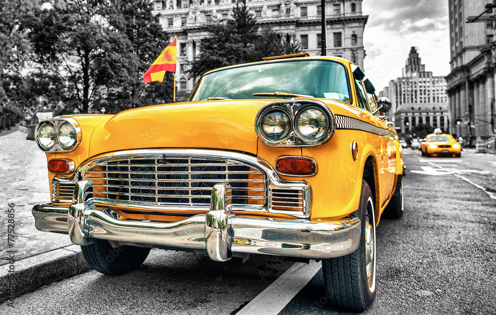 Fototapeta Vintage Yellow Cab in Lower Manhattan - New York City