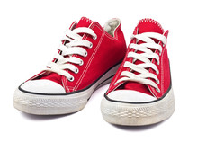 Vintage Red Shoes On White Bac...