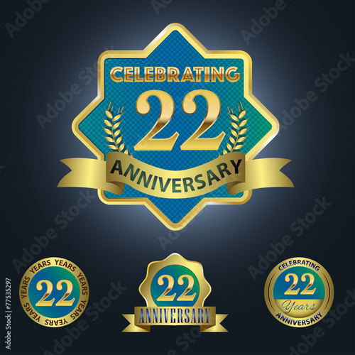 celebrating 22 years anniversary blue seal with golden ribbon