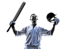 Cricket Player  Portrait Silho...