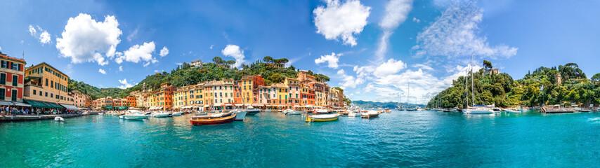 Panel Szklany Podświetlane Kolorowe domki Portofino Panorama, Italien