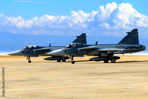 fighter aircraft parked lot