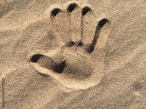 Fotografering  Отпечаток ладони на песке