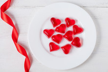 Heart Shaped Red Jelly Candies...