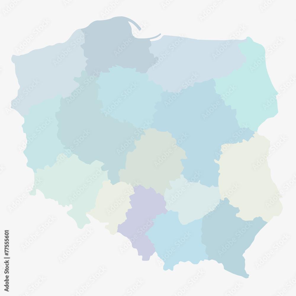 Fototapety, obrazy: podział administracyjny polski, województwa