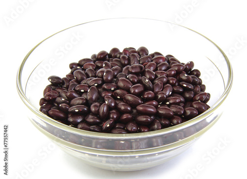 Top view of uncoocked red beans on a cristal bowl. Gernika beans Poster