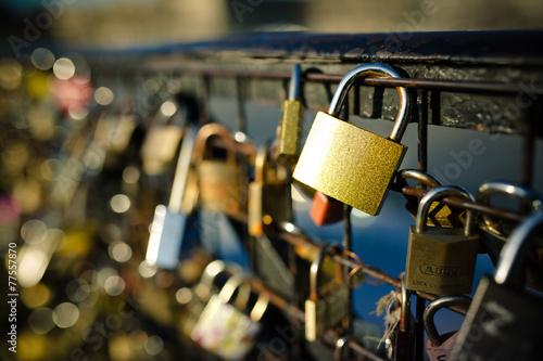 amour cadenas pont des arts Tableau sur Toile
