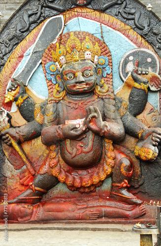 Fotografie, Obraz  Kal Bhairav statue in Hanuman Dhoka square