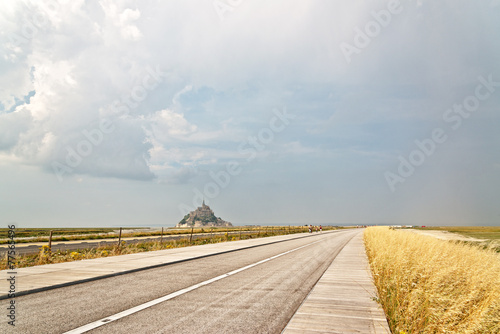 Photo  Deserted road leading to Mont St Michel
