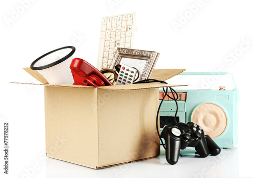 Obraz Box of unwanted stuff isolated on white - fototapety do salonu