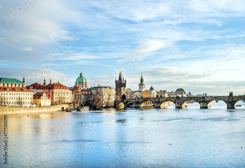 Prague The view over the Vltava river, Charles bridge and white swans f