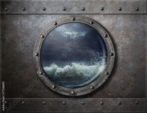 Staande foto Schip old ship metal porthole or window with sea storm