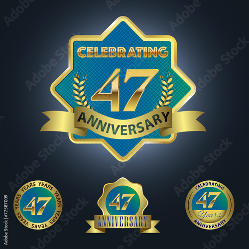 Poster  Celebrating 47 Years Anniversary - Blue seal with golden ribbon