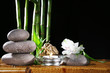 Beautiful composition with spa stones and candle
