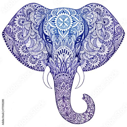 tatuaz-slon-z-wzorami-i-ornamentami