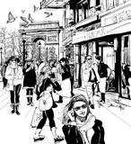 Ludzie chodzący na Pól Elizejskich w Paryżu - 77596819
