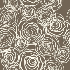 Fototapeta Seamless pattern with roses vector