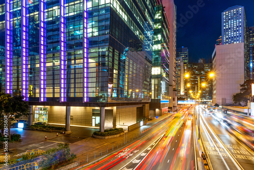 Fototapeta Modern city at night, Hong Kong, China. obraz na płótnie