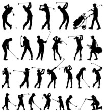 Golfer Silhouettes Vector Coll...